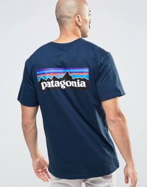 Patagonia Темно-синяя футболка классического кроя с логотипом. Цвет: темно-синий