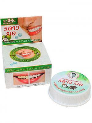 Травяная отбеливающая зубная паста с экстрактом Кокоса 5 STAR COSMETIC. Цвет: белый