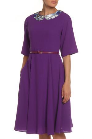 Платье-миди, воротник NATALIA PICARIELLO. Цвет: фиолетовый