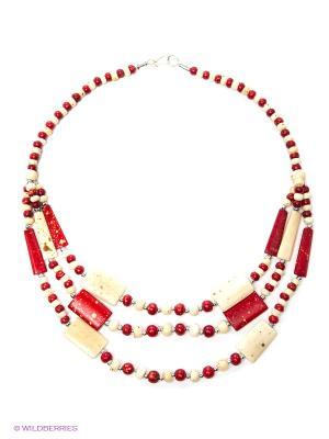 Ожерелье ГАНГ. Цвет: красный, молочный