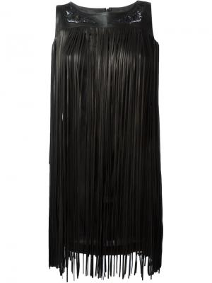 Платье с бахромой Jitrois. Цвет: чёрный