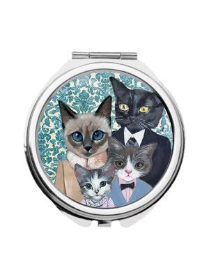 Зеркальце карманное Кошачья семья Chocopony. Цвет: темно-синий, серый, темно-серый
