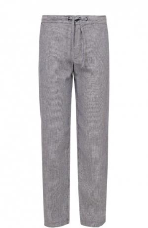 Льняные брюки свободного кроя 120% Lino. Цвет: синий
