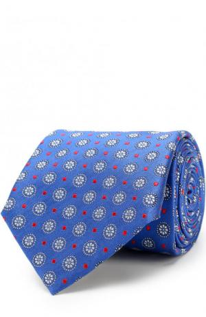 Шелковый галстук с узором Canali. Цвет: синий