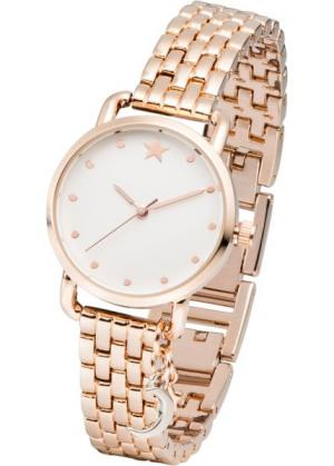 Часы с подвеской биколор и металлическим браслетом (розово-золотистый) bonprix. Цвет: розово-золотистый