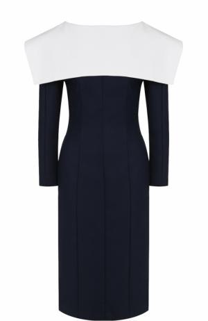 Платье с V-образным вырезом на спинке и контрастным кейпом Jacquemus. Цвет: синий