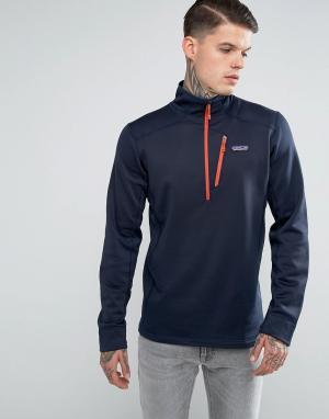 Patagonia Темно-синяя флисовая куртка на молнии Crosstrek. Цвет: темно-синий