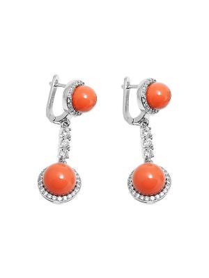 Серьги Kameo-bis. Цвет: оранжевый, белый, серебристый