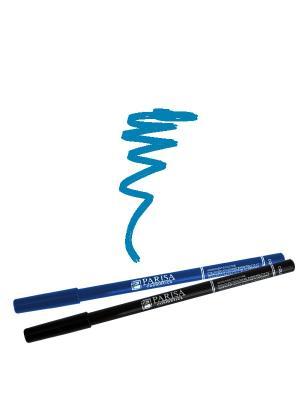 Набор деревянных косметических карандашей для глаз 2 штуки. Один черный плюс цвет 506 Голубой Parisa. Цвет: голубой