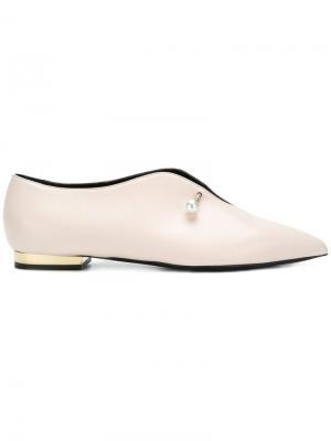 Giada embellished slippers Coliac. Цвет: телесный
