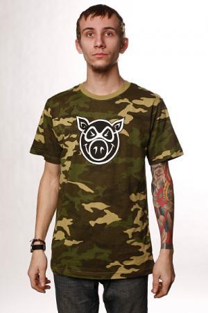 Футболка  Camo head Pig. Цвет: бежевый,камуфляжный