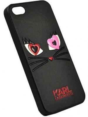 Чехол Lagerfeld для iPhone 5S/SE Choupette in love 2 Hard PU Black Karl. Цвет: черный