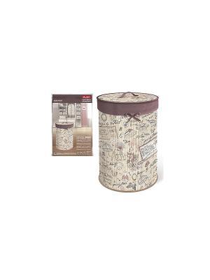 Корзина для белья с крышкой, складная, бамбук, ROMANTIC VALIANT. Цвет: бежевый