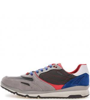 Разноцветные кроссовки с вкладной стелькой Geox. Цвет: серый