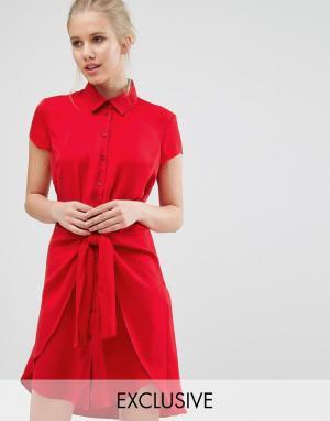 Closet London Платье с короткими рукавами и завязкой спереди - Красный 5412872