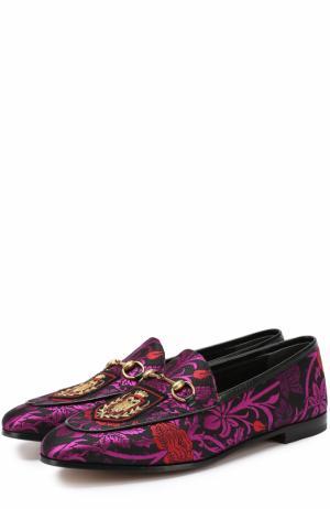 Текстильные лоферы New Jordaan с вышивкой Gucci. Цвет: фиолетовый