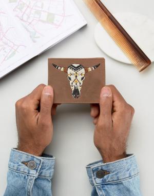 ASOS Кожаный бумажник с вышитой головой барана. Цвет: коричневый