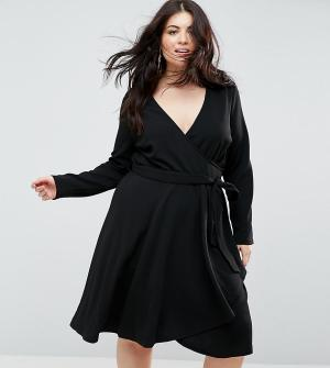 Uttam Boutique Plus Платье с длинными рукавами, запахом и поясом. Цвет: черный
