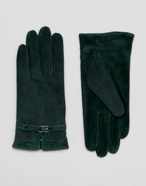 Barney's Originals Перчатки из натуральной кожи Barneys. Цвет: зеленый