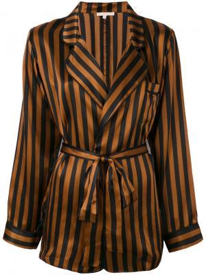 Полосатый пиджак в пижамном стиле Gold Hawk. Цвет: чёрный