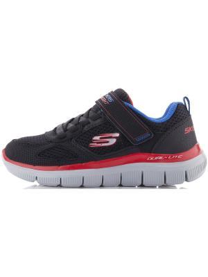 Кроссовки для мальчиков SKECHERS. Цвет: черный, голубой, красный
