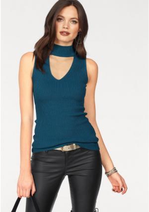 Пуловер MELROSE. Цвет: зелено-синий