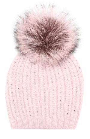 Кашемировая вязаная шапка с отделкой из страз Swarovski и помпоном William Sharp. Цвет: светло-розовый