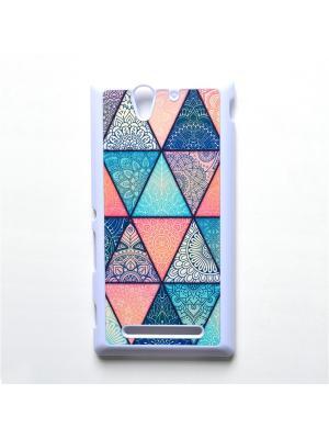 Чехол для Sony Xperia C3 Геометрический принт Boom Case. Цвет: бирюзовый, розовый
