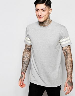Brooklyn Supply Co. Серая футболка с двумя полосками на рукавах Co. Цвет: серый