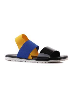 Сандалии STUDIO POLLINI. Цвет: черный, синий, желтый