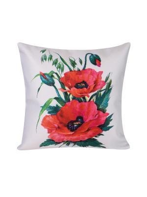 Декоративная наволочка Маковый цвет Рапира. Цвет: красный, белый, зеленый