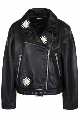 Укороченная кожаная куртка свободного кроя с косой молнией Natasha Zinko. Цвет: черный