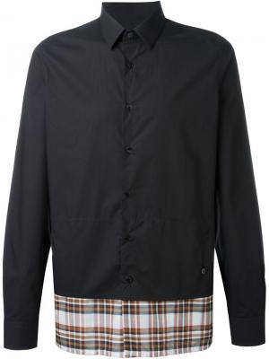 Рубашка с клетчатым подолом Raf Simons. Цвет: синий