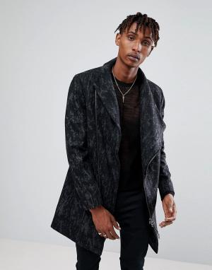 Religion Пальто с камуфляжным принтом и асимметричной молнией. Цвет: черный
