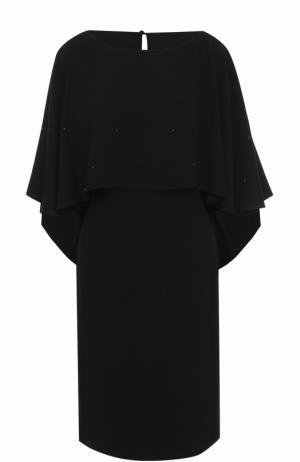 Платье-миди с декорированным кейпом St. John. Цвет: черный