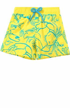 Плавки-шорты с принтом Vilebrequin. Цвет: желтый
