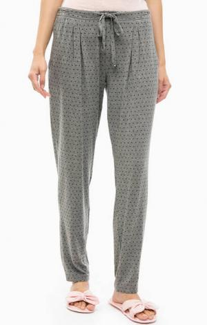 Домашние брюки в горошек Jockey. Цвет: серый