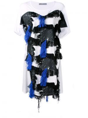 Длинная футболка с кисточками Mikio Sakabe. Цвет: белый