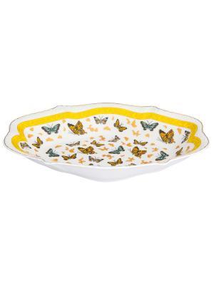 Блюдо Бабочки Elan Gallery. Цвет: белый, золотистый, оранжевый