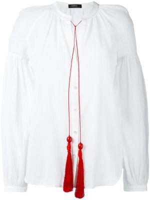 Блузка с контрастными кисточками Wandering. Цвет: белый