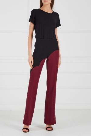 Комбинированные брюки бордовые Chapurin. Цвет: multicolor