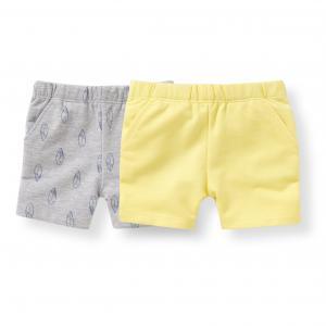 Комплект из 2 шорт мольтона, 1 мес. - 3 года R édition. Цвет: серый меланж + желтый