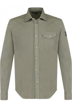 Хлопковая рубашка с накладным карманом Belstaff. Цвет: зеленый
