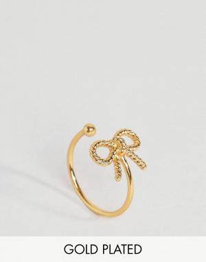 Olivia Burton Кольцо с бантиком в винтажном стиле. Цвет: золотой