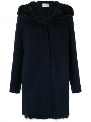 Пальто с капюшоном Yves Salomon. Цвет: синий