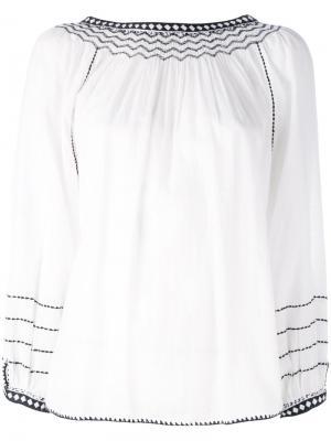 Embroidered detail shift blouse Masscob. Цвет: белый