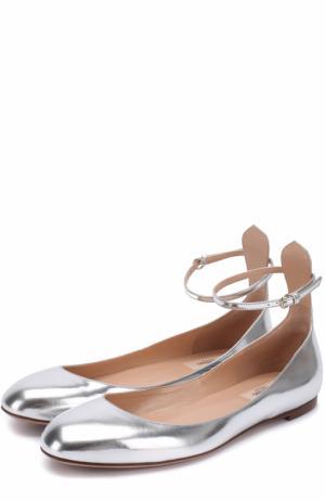 Балетки Tan-Go из металлизированной кожи с ремешком на щиколотке Valentino. Цвет: серебряный