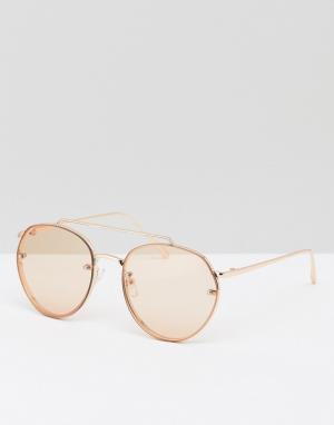 ASOS Солнцезащитные очки-авиаторы в золотисто-розовой металлической оправе. Цвет: золотой