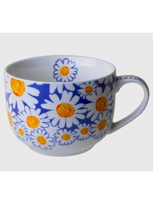 Чашка для супа GiftLand. Цвет: оранжевый, белый, синий