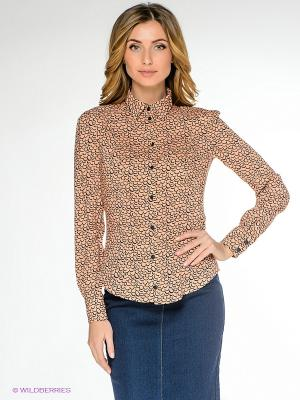 Блузка PROFITO AVANTAGE. Цвет: бежевый, темно-синий